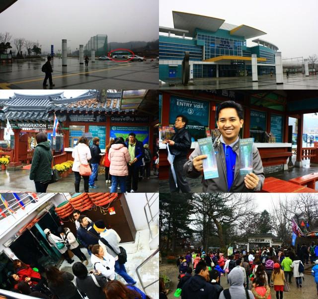 Atas: Gapyeong St & Bus yg membawa kami ke Gapyeong Wharf. Tengah: Immigration & Entry Visa. Bawah: Rombongan Fery kami saat di kapal & saat masuk Nami