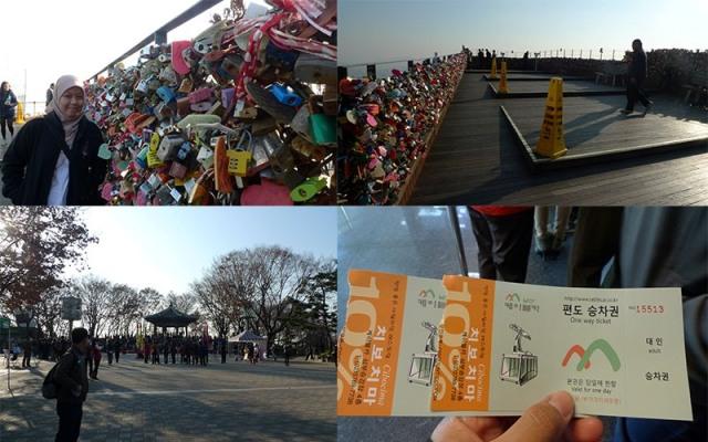 atas: parade gembok cinta, kiri bawah: pelataran Namsan Tower, kanan bawah: tiket cable car Namsan Tower