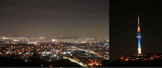 Seoul & N Seoul Tower di malam hari