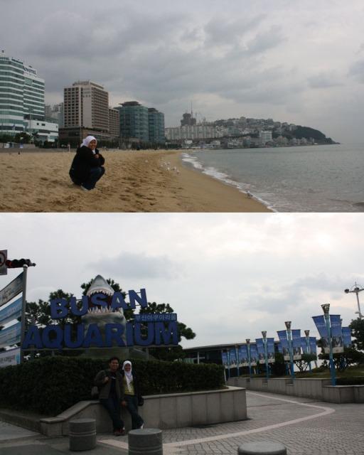 atas: Haeundae Beach di musim gugur, bawah: di depan Busan Aquarium